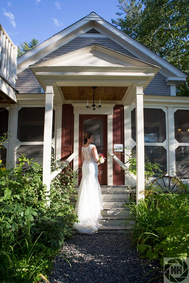Bride on the front steps